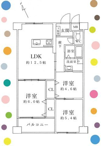 3LDK、価格2580万円、専有面積61.55m2、バルコニー面積4.6m2